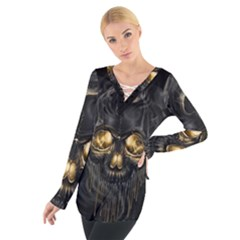 Art Fiction Black Skeletons Skull Smoke Women s Tie Up Tee