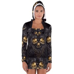 Art Fiction Black Skeletons Skull Smoke Women s Long Sleeve Hooded T-shirt
