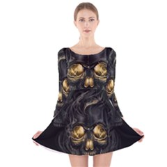 Art Fiction Black Skeletons Skull Smoke Long Sleeve Velvet Skater Dress