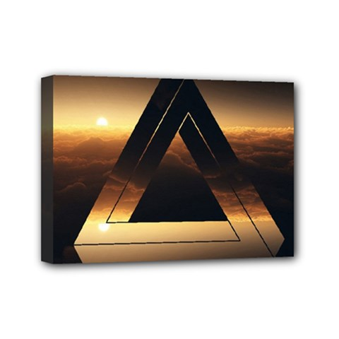 Triangle Penrose Clouds Sunset Mini Canvas 7  x 5