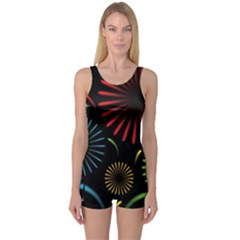 Fireworks With Star Vector One Piece Boyleg Swimsuit