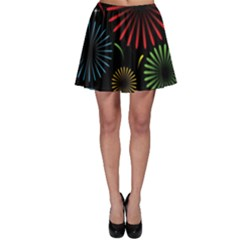 Fireworks With Star Vector Skater Skirt
