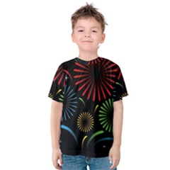 Fireworks With Star Vector Kids  Cotton Tee