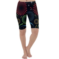 Fireworks With Star Vector Cropped Leggings