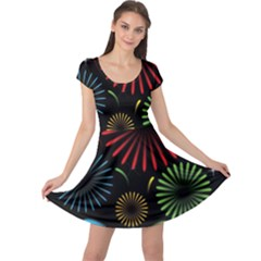 Fireworks With Star Vector Cap Sleeve Dresses