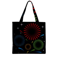 Fireworks With Star Vector Zipper Grocery Tote Bag