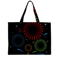 Fireworks With Star Vector Zipper Mini Tote Bag