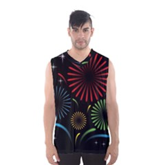 Fireworks With Star Vector Men s Basketball Tank Top