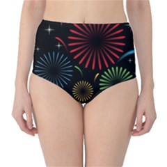 Fireworks With Star Vector High-Waist Bikini Bottoms