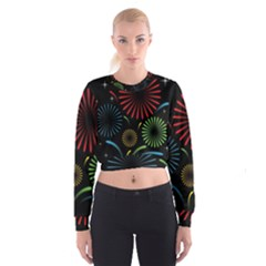Fireworks With Star Vector Cropped Sweatshirt