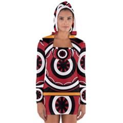 Toraja Pattern Pa barre Allo Women s Long Sleeve Hooded T-shirt