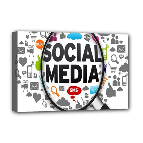 Social Media Computer Internet Typography Text Poster Deluxe Canvas 18  x 12