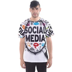 Social Media Computer Internet Typography Text Poster Men s Sport Mesh Tee