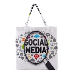 Social Media Computer Internet Typography Text Poster Grocery Tote Bag