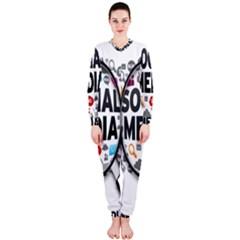 Social Media Computer Internet Typography Text Poster OnePiece Jumpsuit (Ladies)