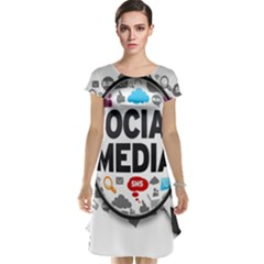 Social Media Computer Internet Typography Text Poster Cap Sleeve Nightdress