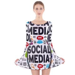 Social Media Computer Internet Typography Text Poster Long Sleeve Velvet Skater Dress