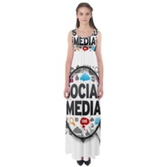 Social Media Computer Internet Typography Text Poster Empire Waist Maxi Dress