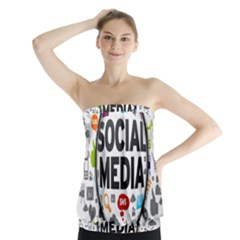 Social Media Computer Internet Typography Text Poster Strapless Top