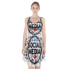 Social Media Computer Internet Typography Text Poster Racerback Midi Dress