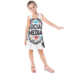 Social Media Computer Internet Typography Text Poster Kids  Sleeveless Dress