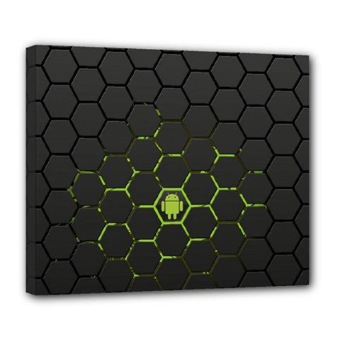 Green Android Honeycomb  Deluxe Canvas 24  x 20