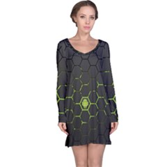 Green Android Honeycomb  Long Sleeve Nightdress