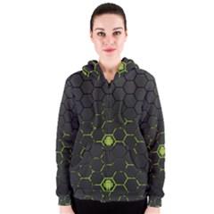 Green Android Honeycomb  Women s Zipper Hoodie