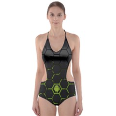 Green Android Honeycomb  Cut-Out One Piece Swimsuit