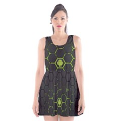 Green Android Honeycomb  Scoop Neck Skater Dress