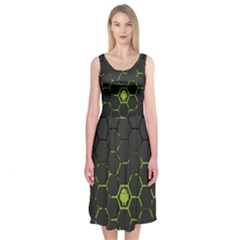 Green Android Honeycomb  Midi Sleeveless Dress