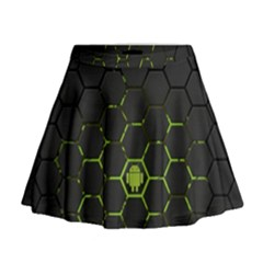 Green Android Honeycomb  Mini Flare Skirt