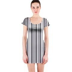 Barcode Pattern Short Sleeve Bodycon Dress