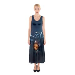 Owl And Fire Ball Sleeveless Maxi Dress