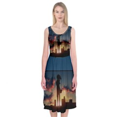 Art Sunset Anime Afternoon Midi Sleeveless Dress