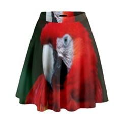 Scarlet Macaw Bird High Waist Skirt