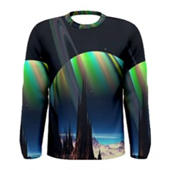Planets In Space Stars Men s Long Sleeve Tee