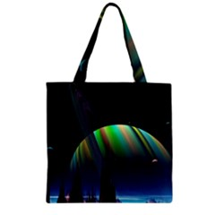 Planets In Space Stars Zipper Grocery Tote Bag