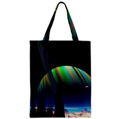 Planets In Space Stars Zipper Classic Tote Bag