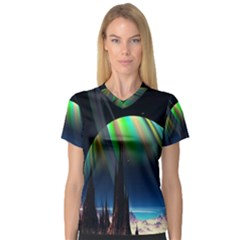 Planets In Space Stars Women s V-Neck Sport Mesh Tee