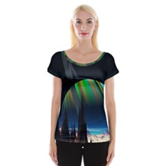 Planets In Space Stars Women s Cap Sleeve Top