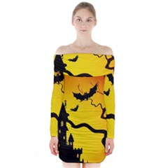 Halloween Night Terrors Long Sleeve Off Shoulder Dress