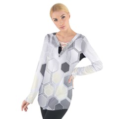 Honeycomb Pattern Women s Tie Up Tee