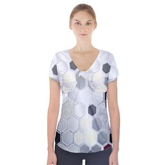 Honeycomb Pattern Short Sleeve Front Detail Top