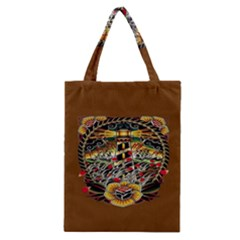 Tattoo Art Print Traditional Artwork Lighthouse Wave Classic Tote Bag