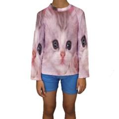 Cat Animal Kitten Pet Kids  Long Sleeve Swimwear