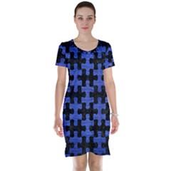 PUZ1 BK-MRBL BL-BRSH Short Sleeve Nightdress