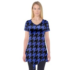 Houndstooth1 Black Marble & Blue Brushed Metal Short Sleeve Tunic