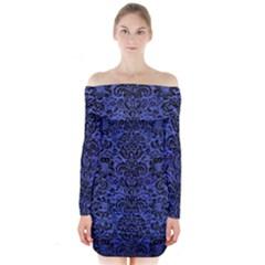 Damask2 Black Marble & Blue Brushed Metal (r) Long Sleeve Off Shoulder Dress