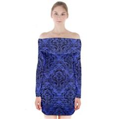 DMS1 BK-MRBL BL-BRSH (R) Long Sleeve Off Shoulder Dress